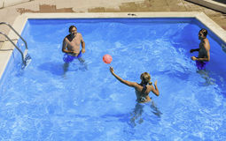 Ball game in the pool. Faliraki. Rhodes Island. Greece. View of Ball game in the pool. Faliraki. Rhodes Island. Greece Stock Photo