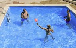 Ball game in the pool. Faliraki. Rhodes Island. Greece Stock Photo