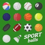 Ball game set. Sport and games kids ball for volleyball baseball tennis football soccer bambinton hockey balls vector vector illustration