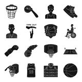 Ball, game, sport, fitness and other icons of basketball. Basketball set collection icons in black style vector symbol Stock Images