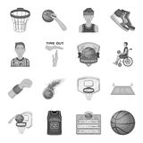 Ball, game, sport, fitness and other icons of basketball. Basketball set collection icons in monochrome style vector Royalty Free Stock Photos