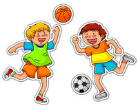 Ball games. Two boys playing soccer and basketball Stock Photo