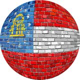 Ball with Georgia flag - Illustration. NGeorgia flag sphere in brick style, nAbstract Grunge brick flag of Georgia in circle Royalty Free Stock Photo