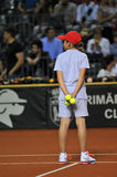 Ball girl in action during a tennis match Royalty Free Stock Photos