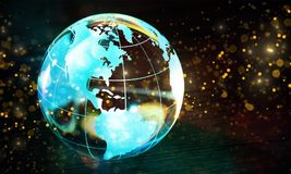 Glass globe ball in light rays on background Royalty Free Stock Photo