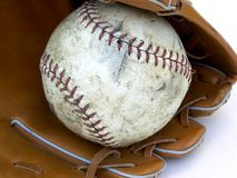 Ball and glove. Close up Royalty Free Stock Images