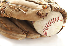 Ball and glove. On white Royalty Free Stock Image