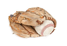 Ball and glove. A baseball glove and ball on a white background Royalty Free Stock Photography