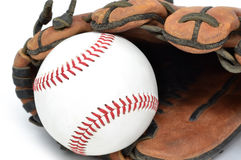 Ball In Glove. Baseball in glove pocket sports concept Royalty Free Stock Photo