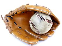 Ball and glove #3. Isolated ball and glove #3 royalty free stock photos
