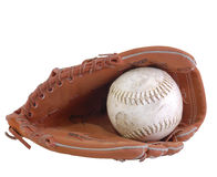 Ball and glove. Baseball and baseball glove isolated on white Royalty Free Stock Photography