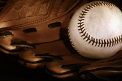 Ball and glove. Baseball and glove/Sepia royalty free stock photography