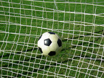 Ball in goal Stock Image