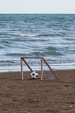 Ball in the goal. Beach ball in small goal Stock Images