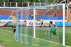 The ball in the goal Royalty Free Stock Photography