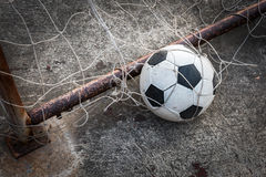 Ball in the goal net Royalty Free Stock Photography