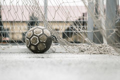 Ball in a goal Royalty Free Stock Photo