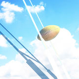 Ball and Goal posts for rugby at sky. Rugby. Royalty Free Stock Photos