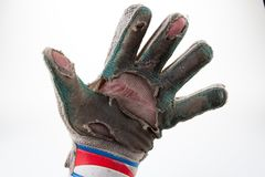 Ball goalkeeper sportswear and football game gloves,  hand