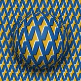 Ball with a golden lightnings blue pattern rolls along golden lightnings blue surface. Abstract vector optical illusion. Illustration. Motion background and royalty free illustration
