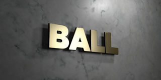 Ball - Goldzeichen angebracht an der glatten Marmorwand - 3D übertrug freie Illustration der Abgabe auf Lager Lizenzfreies Stockbild