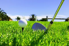 Ball and golf clubs Royalty Free Stock Image