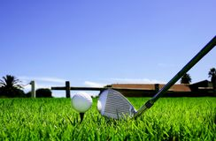 Ball and golf clubs Stock Photography