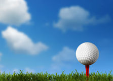 Ball for a golf on a green lawn Royalty Free Stock Image