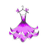 Ball gown hand drawing on a hanger Stock Images