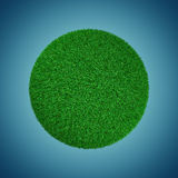Ball of grass. Bowl of green grass on a blue background 3d Stock Photo