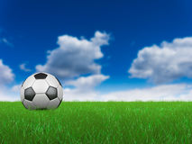 Ball on grass. Soccer ball on grass on the blue sky background. 3D render Royalty Free Stock Images