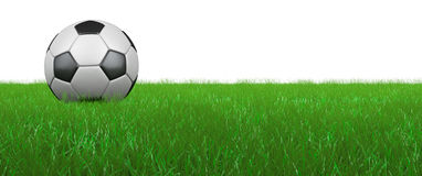 Ball on grass. Soccer ball on the grass, on a white background. 3D render Stock Photography