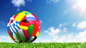 Ball On Grass In The Stadium royalty free stock photography