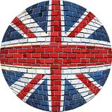 Ball with Great Britain flag in brick style Royalty Free Stock Photo