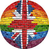 Ball with Great Britain and Gay flags. Illustration, Abstract grunge United Kingdom flag and LGBT flag in brick style royalty free illustration