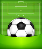 Ball on green field background. Football (soccer) ball on green field background, vector illustration Royalty Free Stock Photos