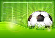 Ball on green field background. Football (soccer) ball on green field background, vector illustration Royalty Free Stock Image