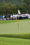 Ball on the Green, with Flag Pole. Contestants ball made it to the green, just beyond by the flag pole Royalty Free Stock Photography