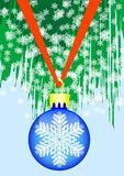 Ball on green spruce. Christmas ball on green spruce branch with snow Royalty Free Stock Images
