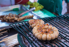 The ball of grilled pork on the stove in Thai style Royalty Free Stock Photography