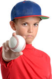 Ball Grip. Boy holding baseball isolated white background stock photography