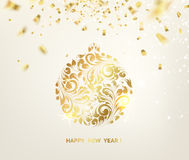 Ball with gzhel and khokhloma. Golden confetti falls on the background. Ball with gzhel and khokhloma texture. Happy new year 2016. Holiday card. Template for Stock Image