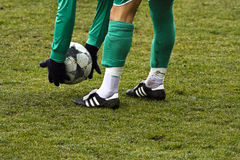 Ball in hand. Player is getting ready to use faul stock photos
