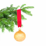 Ball hanging on fir tree. Low poly illustration ball hanging on fir tree on white background Stock Photography