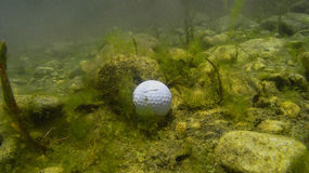 Ball in Hazard. Underwater view of a golf course's water hazard, and the result of a poor shot Stock Photo