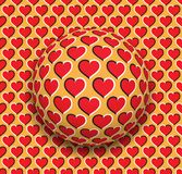 Ball with a hearts pattern rolling along the red hearts surface. Abstract vector optical illusion illustration. Romantic background and tile of seamless Royalty Free Stock Photos