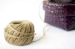 Ball of hemp rope with basket Stock Image