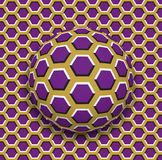 Ball with a hexagons pattern rolling along the hexagons surface. Abstract vector optical illusion illustration Royalty Free Stock Photo