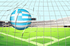 A ball hitting the net with the flag of Greece Stock Photo