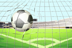A ball hitting the soccer goal Royalty Free Stock Photography